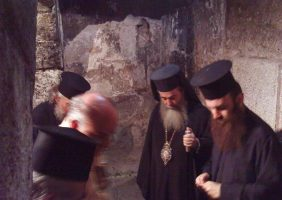 His Beatitude with the Sacristan Archim. Isidoros inspecting the Chapel.