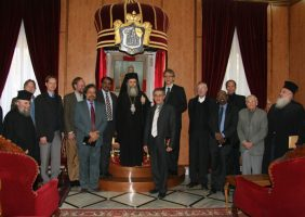 His Beatitude and Fathers of the Brotherhood with Mr. Olav Tveit and delegates of the WCC.
