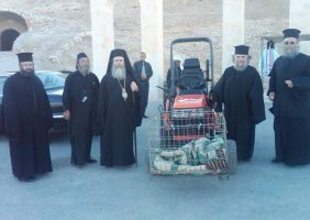 His Beatitude and escorts ascended to the Monastery with the aid of a tractor