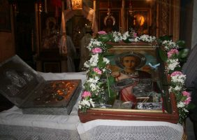 The Saint's icon and venerable relics kept at the Holy Monastery.