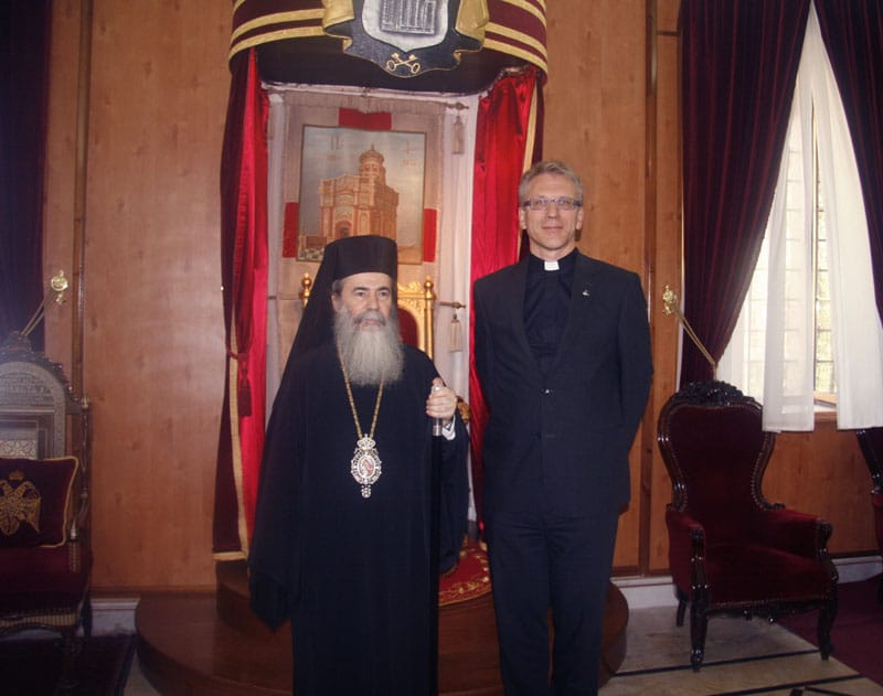 His Beatitude with Rev. Dr. Olav Tveit at the Throne.