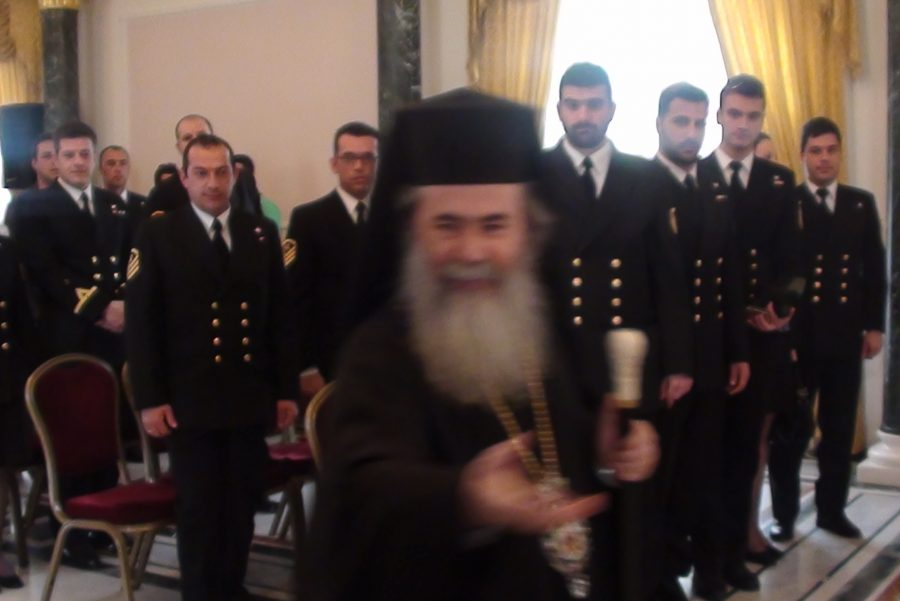 The 1st delegation of the frigate with His Beatitude.