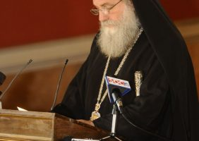 His Eminence of Kapitoliada f. Isichios greets the opening of the event
