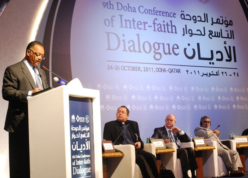 African-American civil rights leader and Baptist minister, Jesse Jackson, makes an address at the 9th annual DICID conference