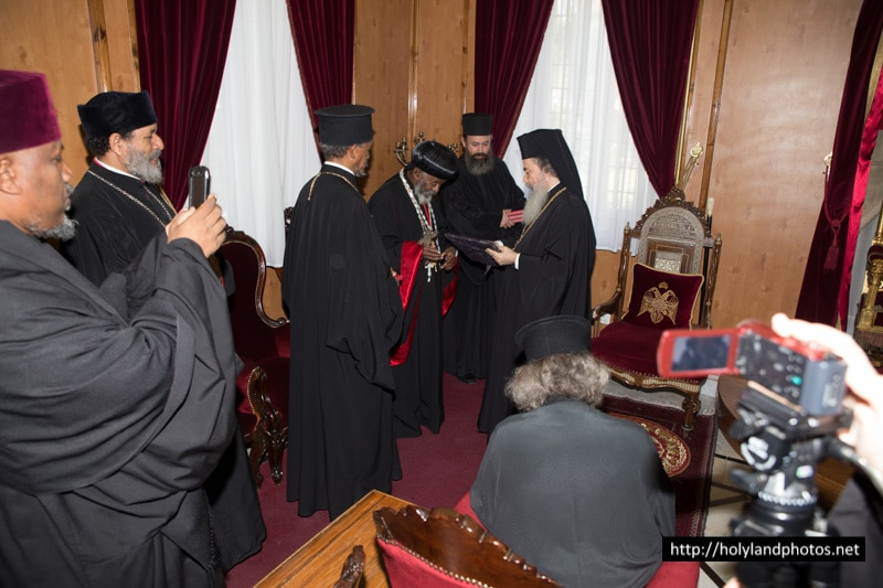 His Beatitude and the Ethiopian Archbishop exchanging gifts