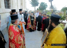 Welcoming His Beatitude to the Church of the Nativity of Theotokos, in Beit-Zala