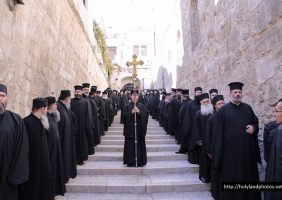 Members of the Holy Sepulchre descend to the All-Holy Church of the Resurrection