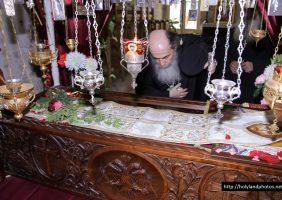 His Beatitude venerating the relics of the saint