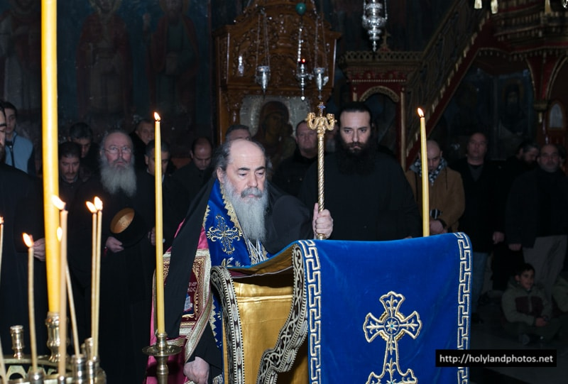 His Beatitude during the Salutations of St Savvas