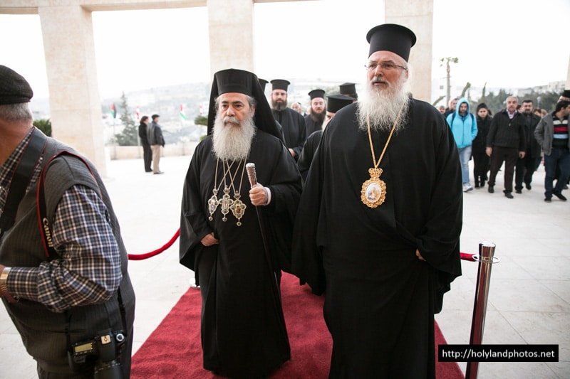 His Beatitude with Archbishop Theophylaktos at the Convention Center