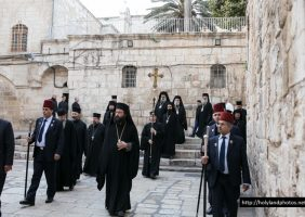 Walking towards the Church of the Resurrection