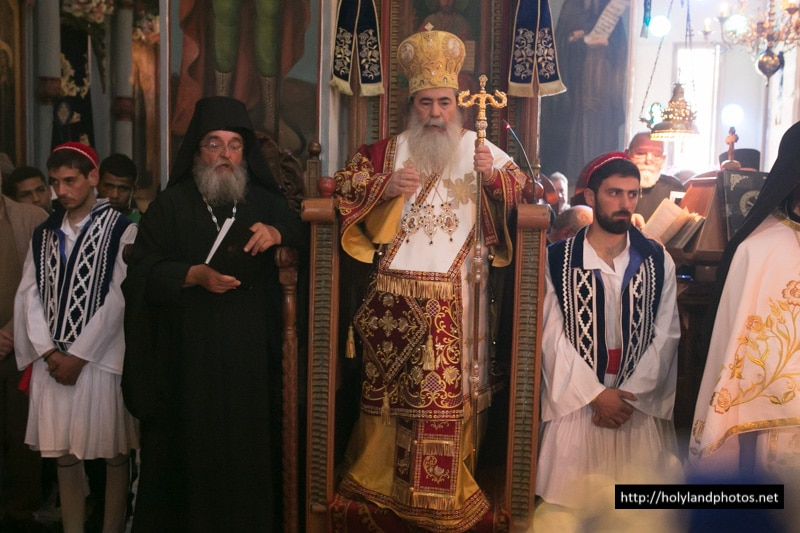His Beatitude, officiating, and f. Chrysostomos