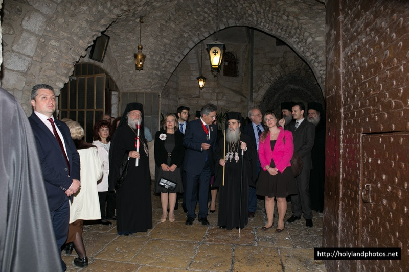 His Beatitude, the Greek Consul-General and Retinue descending to the Holy Sepulchre