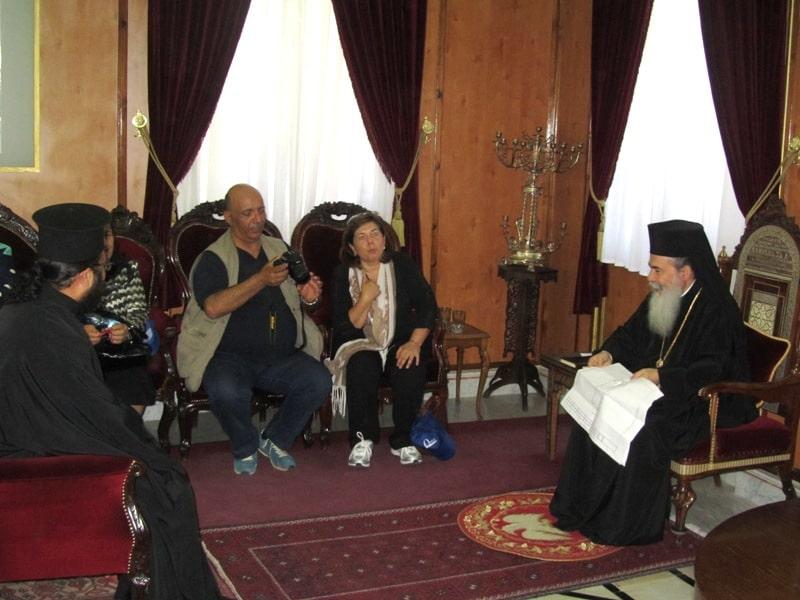 His Beatitude with pilgrims from Jordan