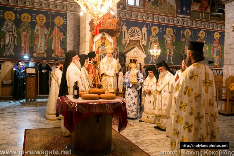 His Beatitude and retinue breaking bread