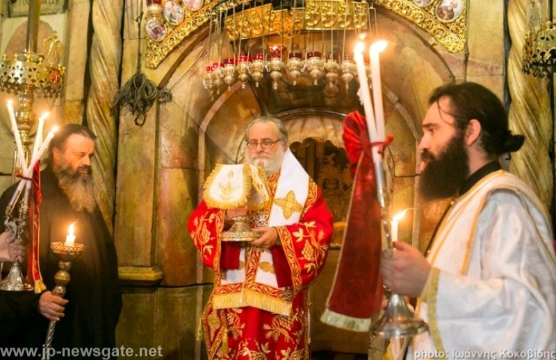 The Most Reverend Isychios of Kapitolias during the divine Liturgy