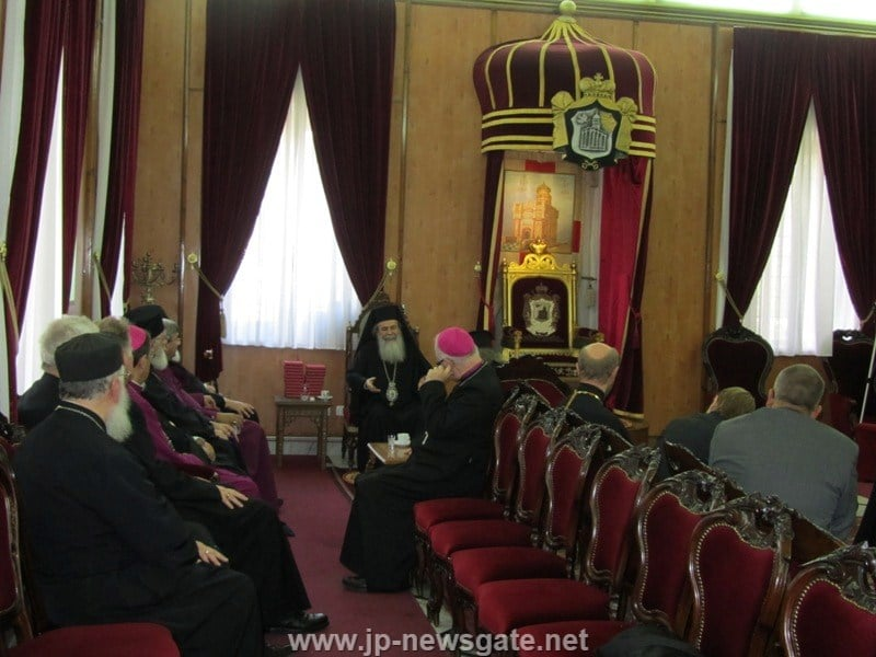 His Beatitude converses with members of the Commission for Theological Dialogue