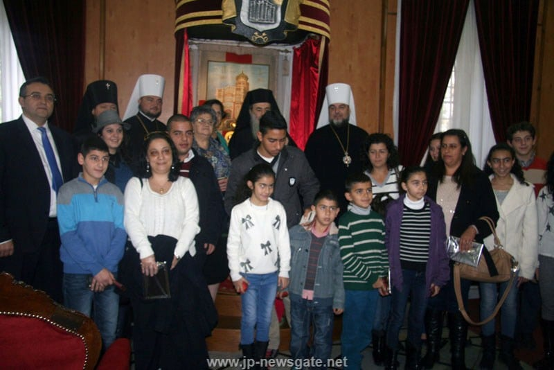 His Beatitude with Mrs Eleni Hasram and pilgrims