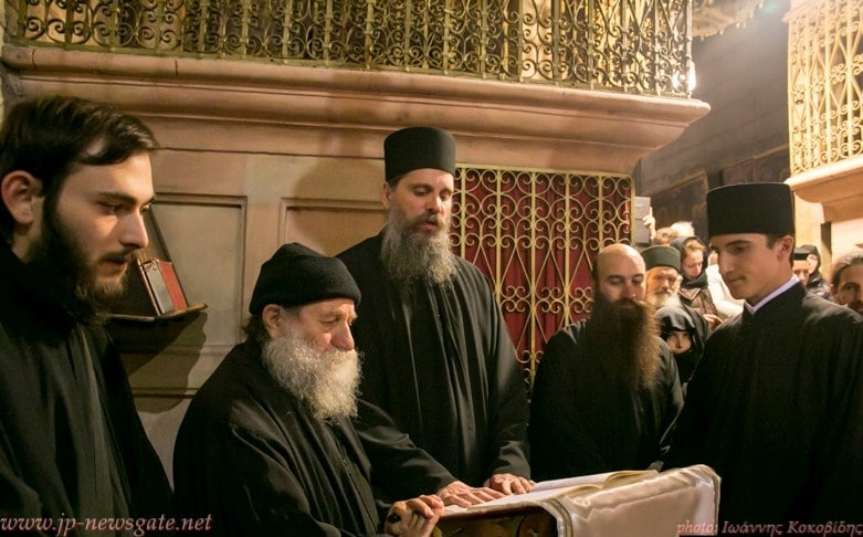 The Sacristan, f. Iacovos, f. Iosif, Monks of Mount Athos