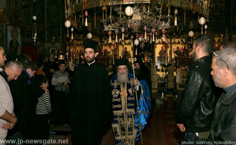 His Beatitude arrives at the katholikon of St Savvas Monastery