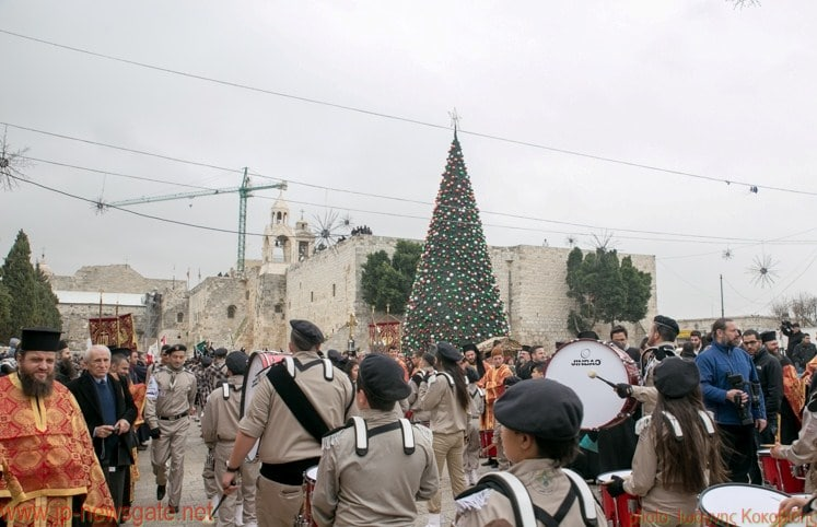 Boy scouts parade in the square