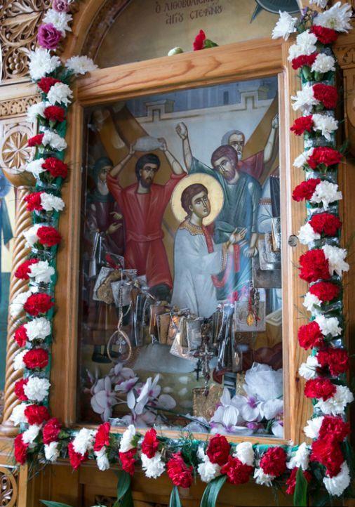 The icon of St Stephen on the iconostasis