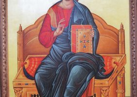 Christ Pantocrator-Egg tempera on wood with fabric