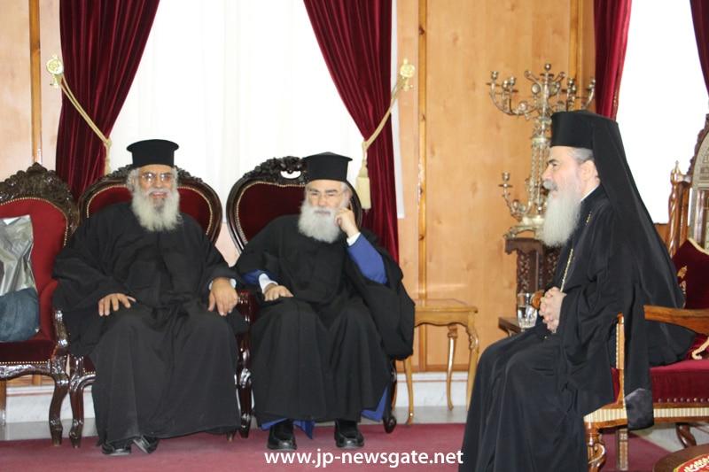 Metropolitan Timotheos and fr. Antonios with the Patriarch