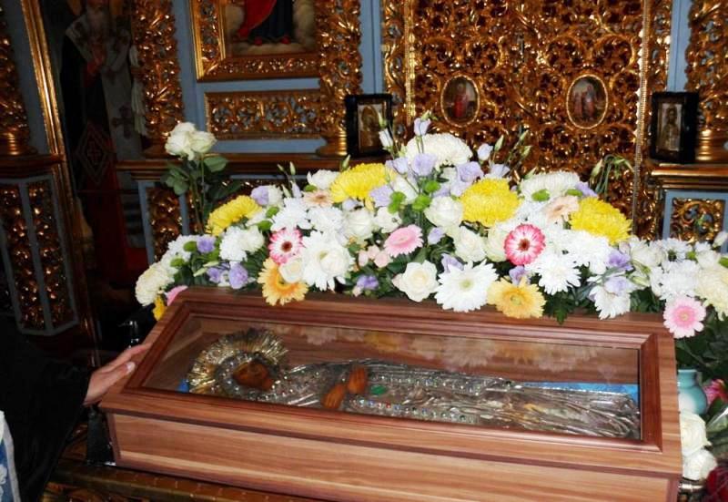 The icon of the Dormition of Theotokos offered for veneration at St Stephanos Church