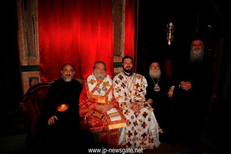 The Metropolitans of Kapitolias, Nazareth, former Zambia, the Archbishop of Lydda and Hierodeacon Dionysios