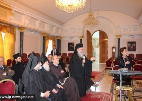 H.B. welcomes the representatives of the Franciscan and the Armenians