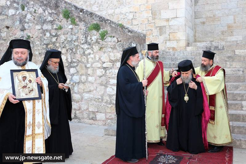 Archbishop Aristarchos of Constantina arrives at the Monastery