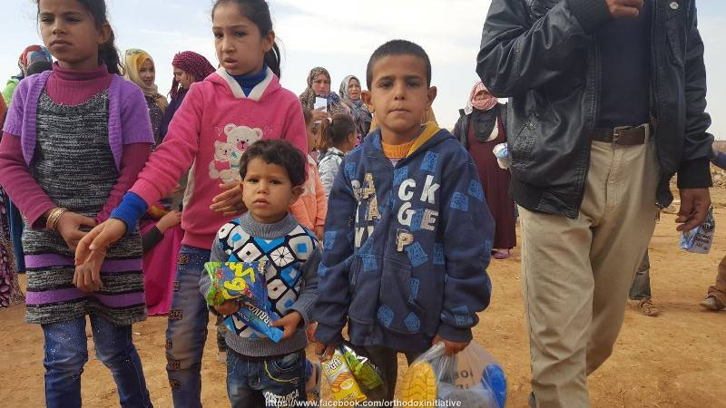 Children at refugee camp in Badia, Jordan