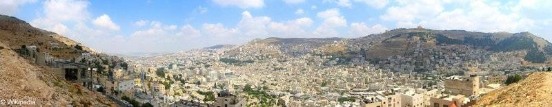 1. Panorama of Nablus City that shows mountain Gerzem (right) and mountain Ebal (left)