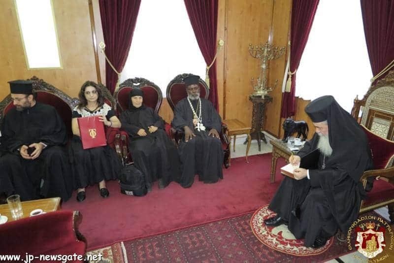 The conversation between His Beatitude and the M. Rev. Metropolitan Ieronymos of Mouanza
