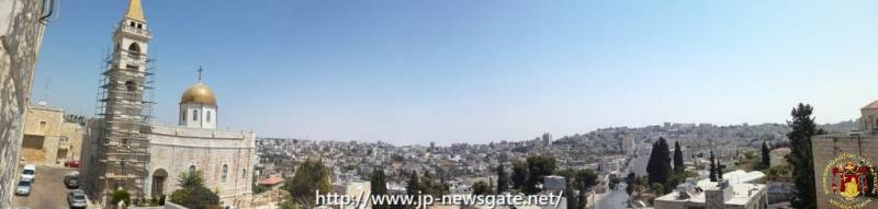 Panorama of Beit Jala city, golden domes of St. Nikolaos' Church can be seen on the left.