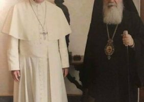 H.B. the Patriarch of Jerusalem with H.H. the Pope of Rome at the Vatican