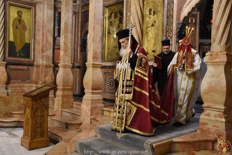His Beatitude the Patriarch of Jerusalem at the Catholicon of the All-holy Church of the Resurrection