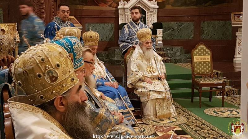 His Beatitude the Patriarch of Jerusalem at the Patriarchal Co-celebration at the H. Church of the Saviour in Moscow